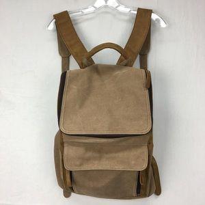 Gootium Brown Canvas & Leather Rucksack Backpack